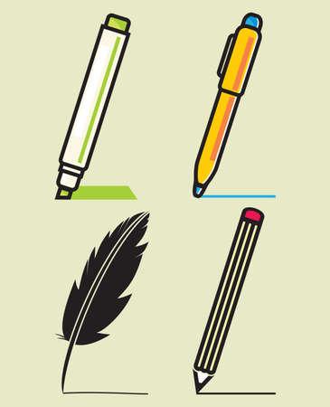 pen and marker: Set of Writing Utensils