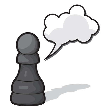 Chess pawn with cloud speach