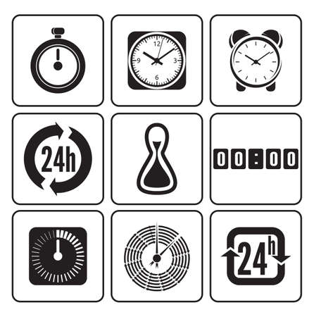 clock gears: Clocks, time icons set