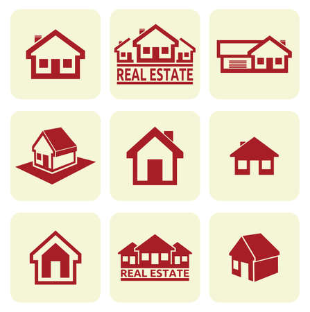 house outline: House icons set  Real estate