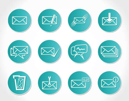 e mail: Set of web Email Icons