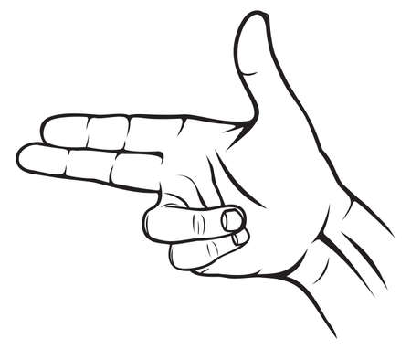 intimidating: A hand making a shape of a pointed hand gun Illustration