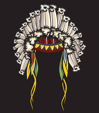 warrior tribal: Indian Headdress Illustration