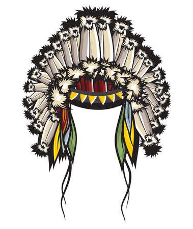 indian chief headdress: Copricapo indiano Vettoriali