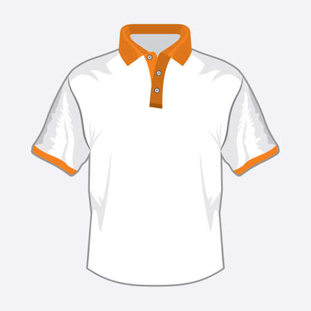 White polo shirt with orange colar Stock Vector - 18734099