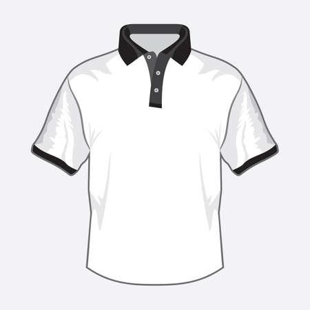 teen golf: Blanco polo diseño de la camisa con cuello negro