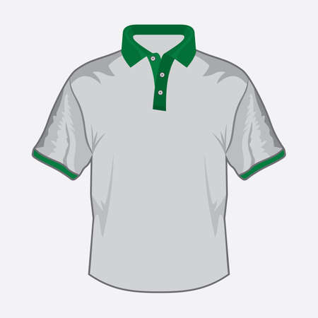 White polo shirt design with green collar Stock Vector - 18499114