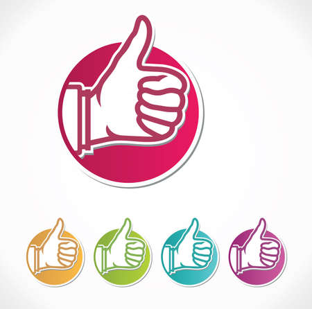 ok hand: vector thumb up stickers Illustration