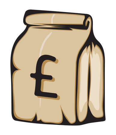 Paper money bag with British pound sign Stock Vector - 18499117