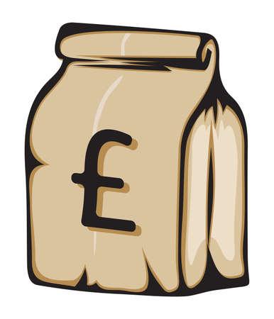 british money: Paper money bag with British pound sign