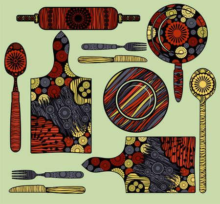 Elementos de cocina Ilustración de vector