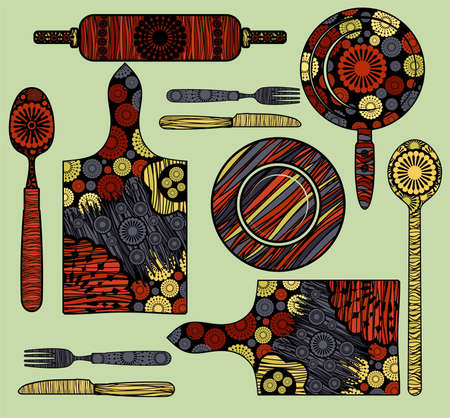 fork and spoon: Kitchen elements