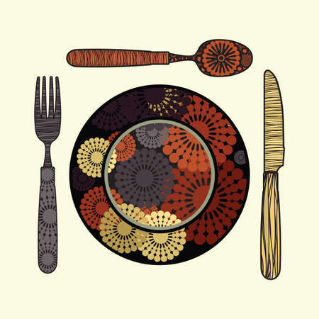 Restaurant sign - knife, spoon, fork and plate Vector