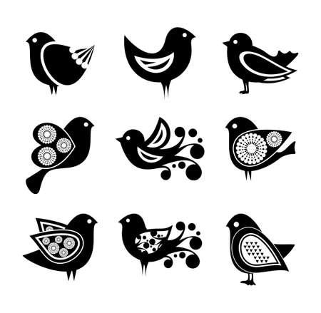 sparrow bird: Set of cartoon doodle birds icons