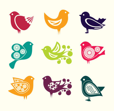 Set of cartoon doodle birds icons Vector