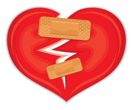 abandono: coraz�n roto con yeso Vectores
