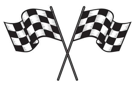 d�part course: deux croix drapeaux � damier