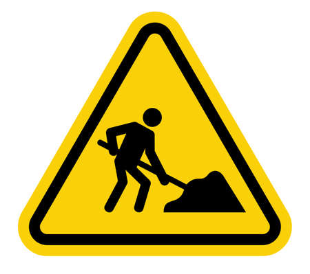 under construction sign with man: under construction road sign