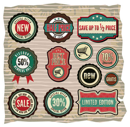 Collection of vintage retro grunge sale labels, badges and icons Stock Vector - 18502298