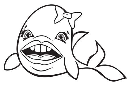 Cute cartoon fish with bow black and white Stock Vector - 18502270