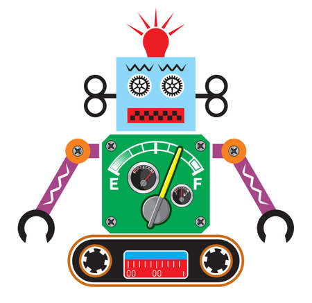 robot cartoon: Retro robot Illustration