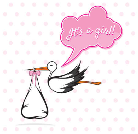 Baby Girl Card - A stork delivering a cute baby boy Vector