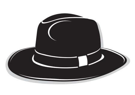 bouliste: Chapeau de gangster noir sur le fond blanc