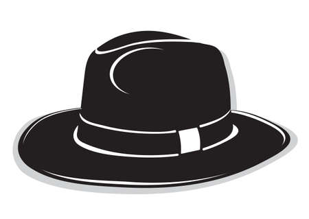 sombrero: Gangster sombrero negro sobre el fondo blanco