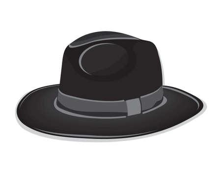 black hat: Sombrero negro sobre fondo blanco
