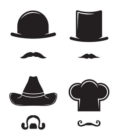 Hat and mustache collection Vector