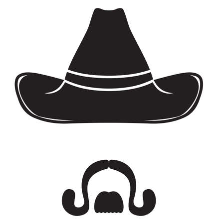 cowboy beard: Cowboy Hat and mustache Illustration