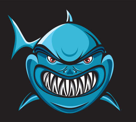 shark mouth: Angry shark Illustration