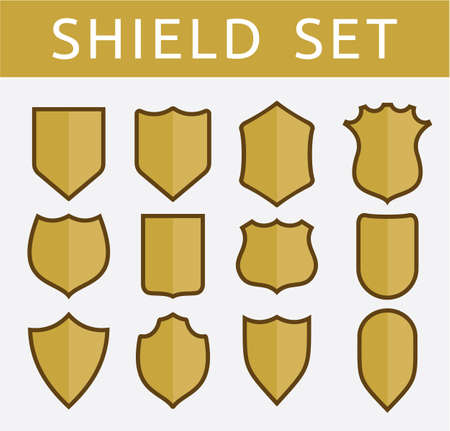 badge shield: Gold shield set Illustration