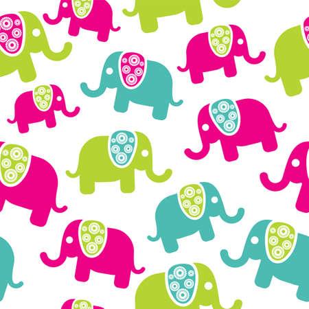 Seamless retro elephant pattern