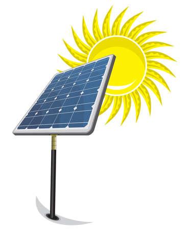 Solar Panel and sun Stock Vector - 18579645