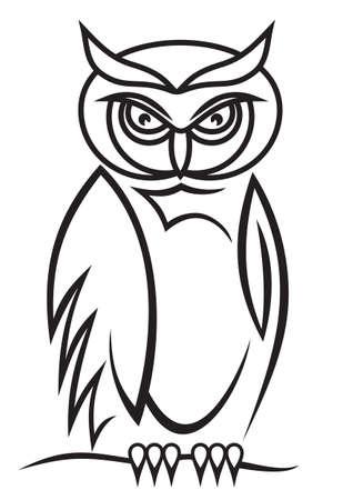 isolated owl: B�ho hermoso aislado en el fondo como un s�mbolo - emblema abstracto Vectores
