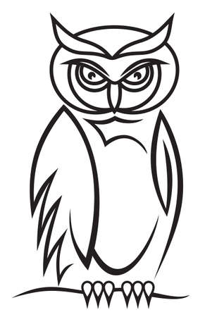 wise old owl: Beautiful isolated owl on background as a symbol - abstract emblem