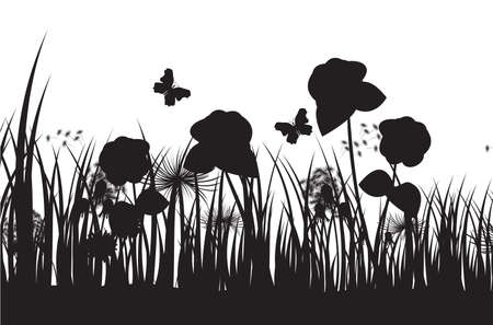 grass silhouette background Stock Vector - 18689645