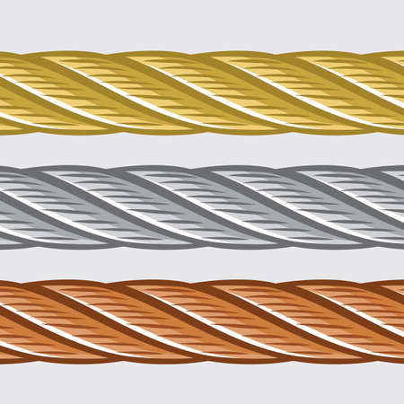 Gold silver and bronze rope Vector
