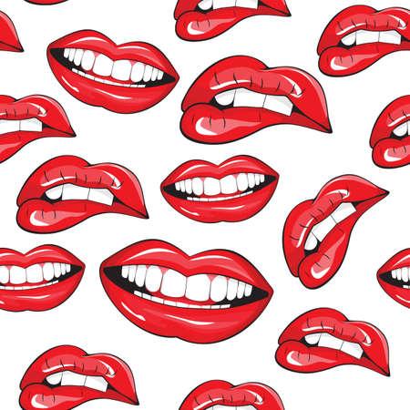lapiz labial: Labios seamless pattern