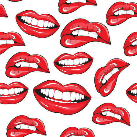 woman mouth open: Lips seamless pattern