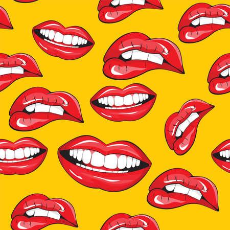 femme bouche ouverte: Lèvres seamless pattern Illustration