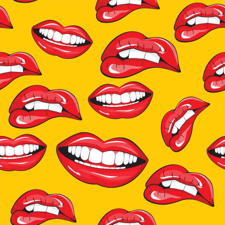 lipstick kiss: Lips seamless pattern