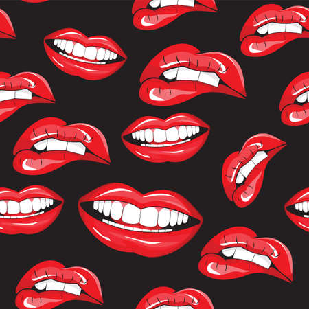femme bouche ouverte: L�vres seamless pattern Illustration