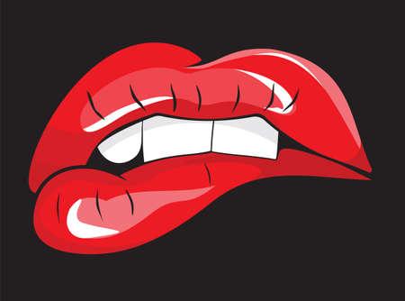 Beet op haar rode lippen tanden