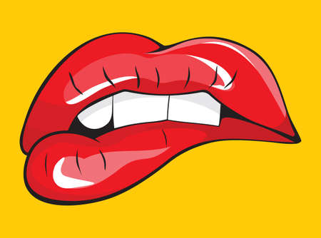 nude pretty girl: Biting her red lips teeth Illustration