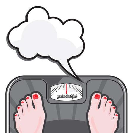 Mujer que mide su peso en una balanza