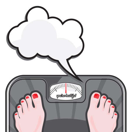 Woman measuring her weight on a balance Vector