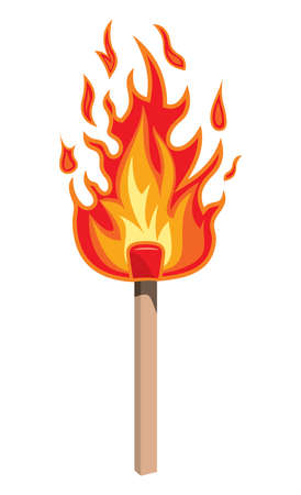 Burning match stick on a white background, vector illustration Vector
