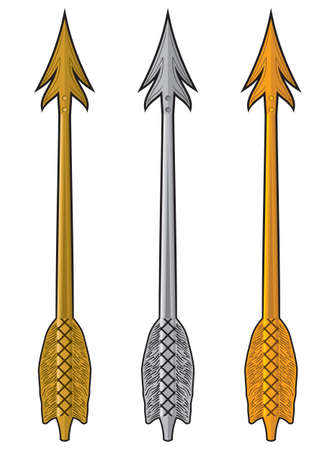 Gold, silver and bronze arrow Vector